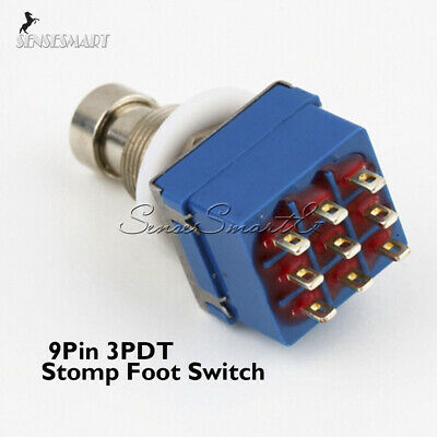 9-pin 3PDT Guitar Effects Pedal Box Stomp Foot Metal Switch True Bypass ST