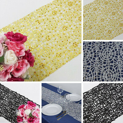 """2 Dozen TABLE 24 RUNNERS 14""""x108"""" SEQUINS on LACE Wholesale Wedding Party Linens"""