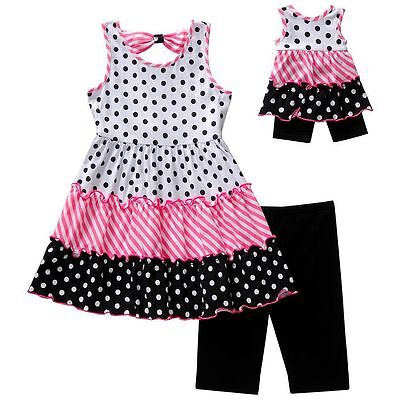 Dollie Me Girl 4-14 and Doll Matching Tiered Tunic Shorts Outfit American Girl