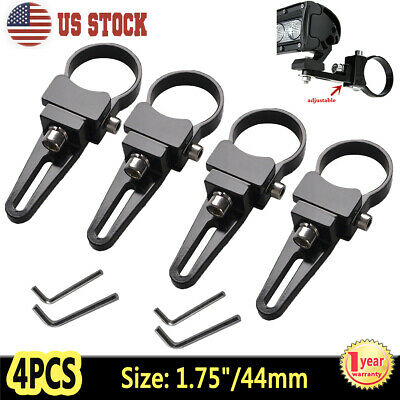 "4X 1.75"" 44mm Bull Bar Roll Cage Mount Bracket Clamps LED Light Bar HID Offroad"