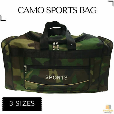 CAMO SPORTS BAG Gym Duffle Travel Water Resistant with Shoulder Strap Camouflage