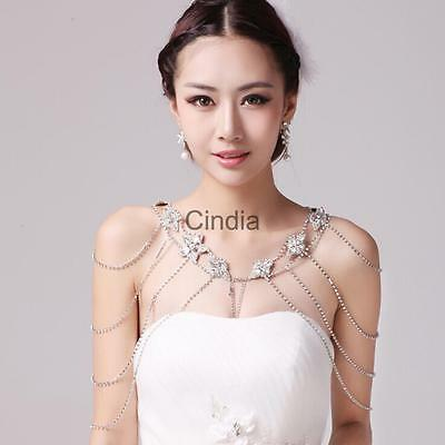 Wedding Jewelry Bridal Flower Crystal Shoulder Chain Necklace + Earrings Set
