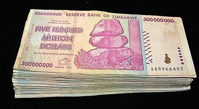 100 x Zimbabwe 500 Million Dollar banknotes- AA/AB 2008 / currency bundle