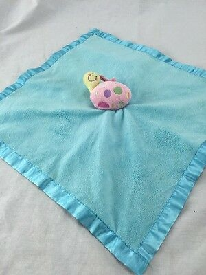 Rare Baby Essentials Snail bug Security Blanket Rattle Lovey  Blue Satin 13 pink