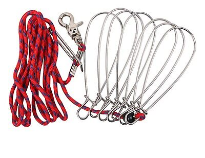 US Scuba Divers Stainless Steel Fishing Stringer Fish Lock 7 Snap Climbing Ropes