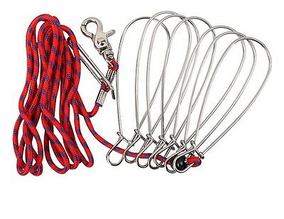 CA Scuba Divers Stainless Steel Fishing Stringer Fish Lock 7 Snap Climbing Ropes