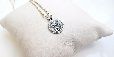 Jesus Christ small round charm pendant sterling silver necklace chain 925 cross