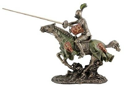 NEW! Veronese Bronze Figurine MEDIEVAL KNIGHT JOUSTING On Horse Sculpture Statue