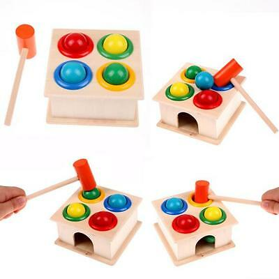 Wooden Ball Game Hammer Educational Toy Hammering Children Kids Early Learning