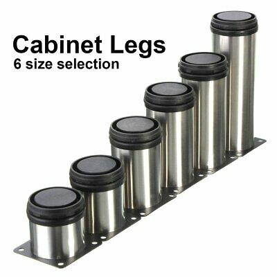 4Pcs Adjustable Cabinet Legs Stainless Steel Kitchen Feet Round Stand Holder New