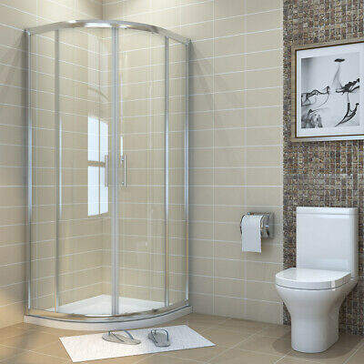 Offset Quadrant  Shower Enclosure Screen Door And Tray Cubicle Easy Clean Glass