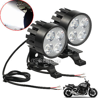 2PCS Motorcycle Motorbike 4 LED Fog Spot Front Headlight Light Universal 12V-85V