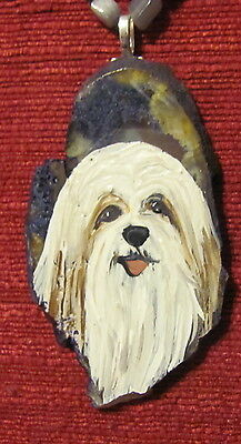 Tibetan Terrier hand painted on Agate Slice pendant/bead/necklace