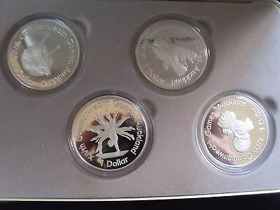 New Zealand: 1989 $1Commonwealth Games set of 4 Silver Proof Set..