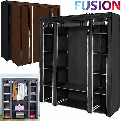 Double Fabric Canvas Clothes Wardrobe With Hanging Rail Shelving Home Storage