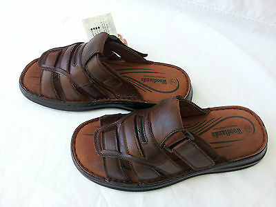 Full Leather Upper and Lining Summer Mens Slip On Sandals Thongs Brown - Hoyt