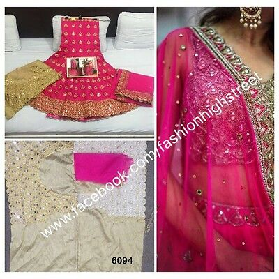 UK Stock: Indian Bollywood, Designer,Bridal Pink & White Lehenga, Chanya Choli