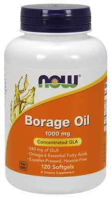 New - NOW Foods Borage Oil 1000 mg 120 Softgels