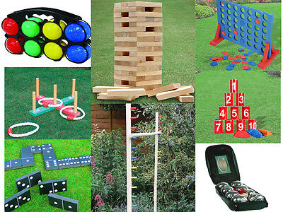 Garden Lawn Bbq Party Games Jenga Tower /  4 In A Row / Quoits / Dominoes /limbo