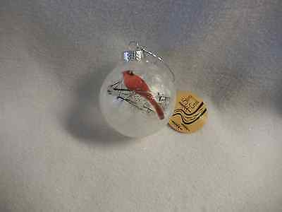 Christmas Stony Creek Cardinal Looking To Right On Round Glass Ornament-New