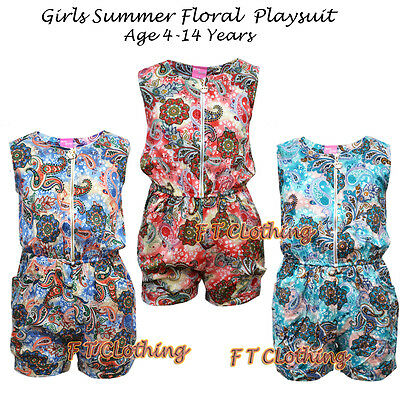 Kids Girls  Floral Summer Glam Playsuit/ Jumpsuit 100% Cotton  Age 4-14 Years