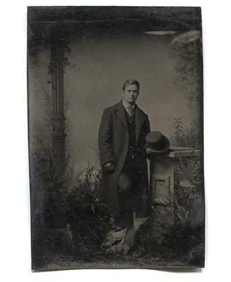 Handsome Man in Trench Coat & Gloves Faux Outdoor Scene Tintype Photograph Antiq
