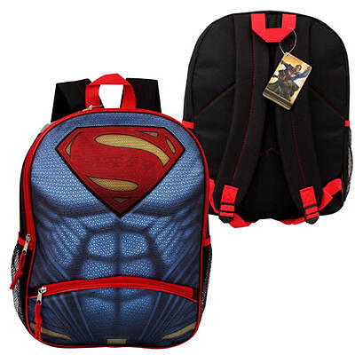 "Backpack 16"" SUPERMAN LOGO Muscle DC Comics Kids Boys School Large Book Bag NEw"