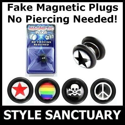 Fake Plug Magnetic Earring Ear Stretcher Flesh Tunnel Piercing Clip-on Studs NEW