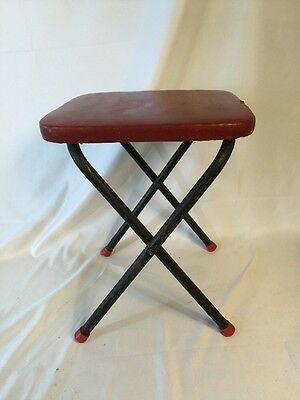 VINTAGE 1950S FOLDING STEP Foot Stool Side Table Red Folding