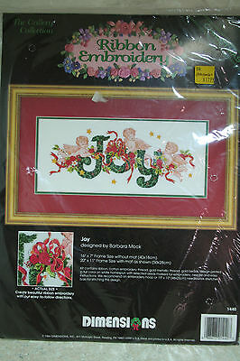 NEW Christmas Ribbon Embroidery Dimensions Kit Joy #1440 Printed Design