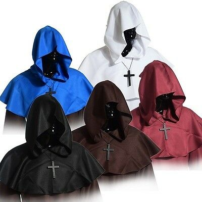 Medieval Hooded Wicca Pagan Cowl+Necklace Hood Halloween Fancy Dress Hat Cosplay