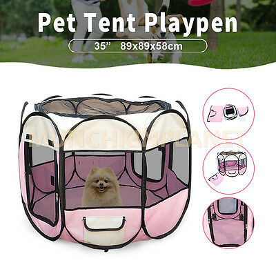 "Dog Cat Play Crate Cage Enclosure Tent Portable Pet Soft Playpen Puppy 35""/ 48"""