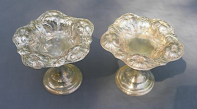 """2 Wallace Floral Repousse Small Pedestal Candy Nut Bon Bon Dishes 3 1/4 """" Tall"""