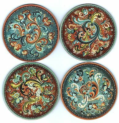 "Set of 4 Coasters:  Norwegian Rosemaling 4"" Diameter Cork Backing, Scandinavian"