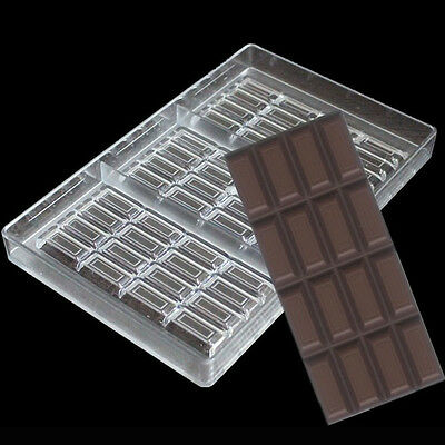 3 Cavity DIY Chocolate Bar Molds Clear Hard Plastic Polycarbonate PC Mould
