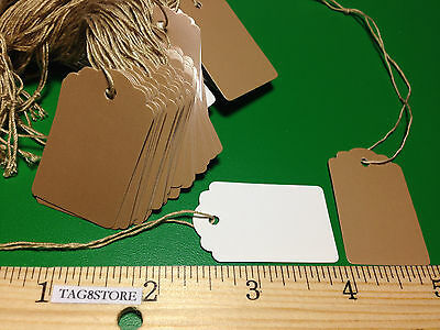 New 100 Brown Kraft Merchandise Garment Price Tags String 1x1-5/8 Retail Sales S