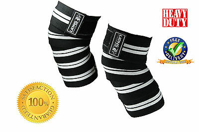 Weight Lifting Knee Wraps Heavy Duty Power Lifting Body Building Support Straps