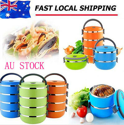 Portable Stainless Steel Lunch Box Bento Food Warmer Picnic Container Handle AU