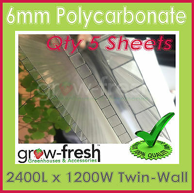GREENHOUSE 6mm Polycarbonate panels roofing sheets twinwall DIY-2400x1200mm QTY5