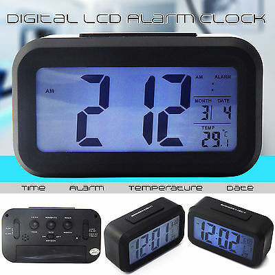 New Battery Digital Alarm Clock with LCD Display Backlight Calendar Snooze UK