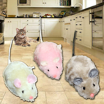Wind Up Running Mouse Mice Rat Cat Kitten Play Toy Pink Grey White