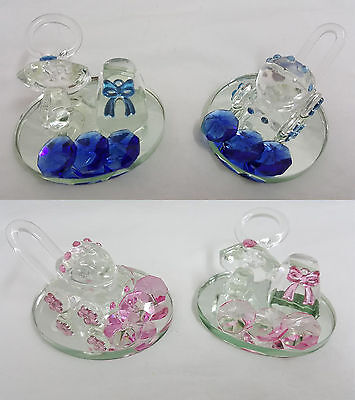 Crystal Pram Dummy & Bootie Ornament Baby Shower Boy Girl Christening Baptism