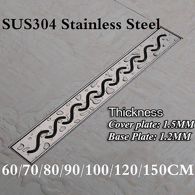 S Style SUS304 Stainless Steel Shower Grate Drain Floor Waste Linear