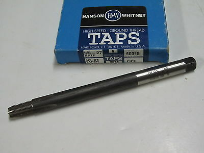 "new HANSON WHITNEY 1/8-27 NPTF 4 Flutes 6"" OAL  taper pulley PIPE TAP 60315"