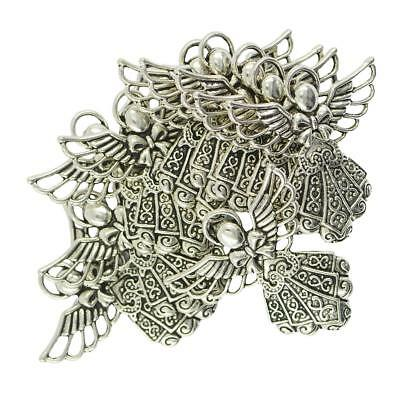 10Pcs Antique Silver Jewelry Finding Angel Wings Pendant Charms DIY Necklace