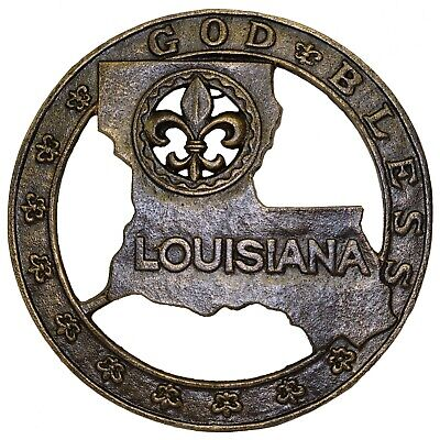 GOD BLESS LOUISIANA Map Cast Iron FLEUR DE LIS Trivet Wall Hang, Counter Top