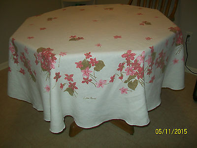 "Vtg. Luther Travis Cotton Tablecloth w/Shades of Pink Flowers - 70"" Diameter"