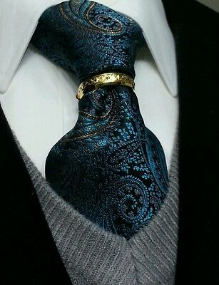 Tie ring bling 18K tone Tribute quality clasp pin tack euro new suit wedding