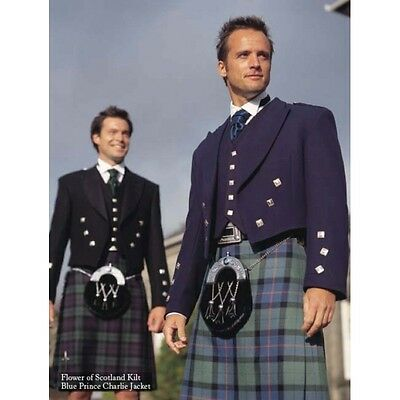 "New Blue Prince Charlie Kilt Jacket 38"" Long 100% Wool Hand Made in Scotland"