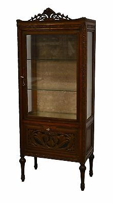 Nicely Carved French Style Curio Crystal Display China Cabinet Vitrine